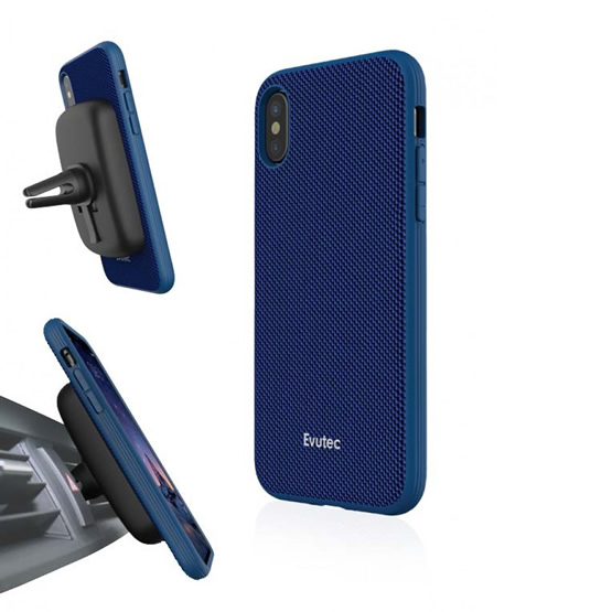Evutec Aergo Case iPhone X/XS + Vent Mount -  Blue
