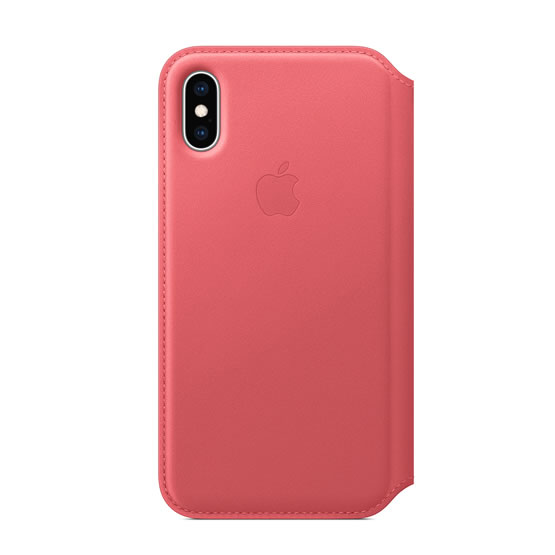 Apple Leather Folio iPhone XS - Peony Pink