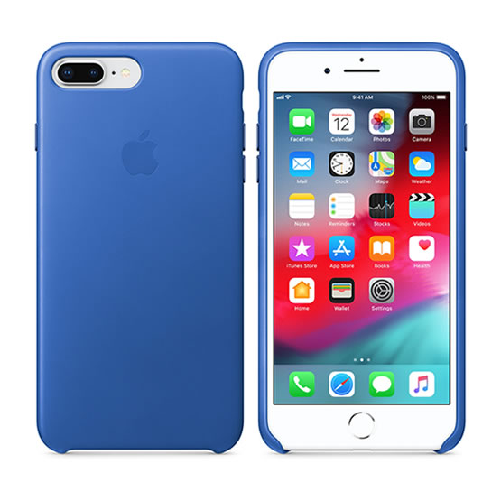 Apple leather Case iPhone 8 Plus - Electric Blue