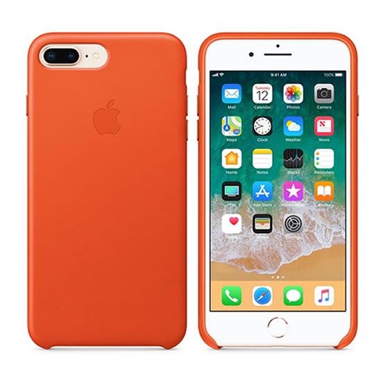 Apple leather Case iPhone 8 Plus - Bright Orange