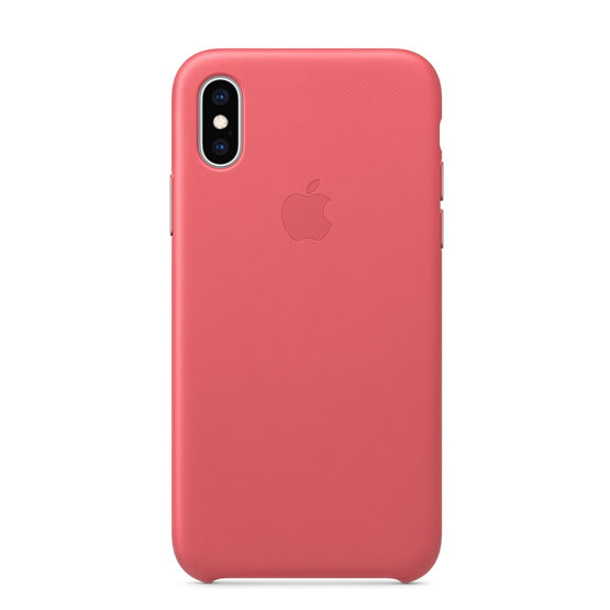 Apple Leather Case iPhone XS - Peony Pink