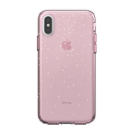 Speck Presidio Clear Glitter iPhone XS - Bella Pink