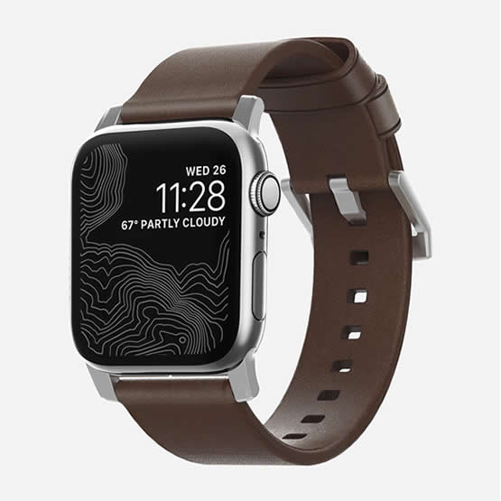 Nomad Modern Strap - Leather Brown/Silver Hardware - 44/42 mm