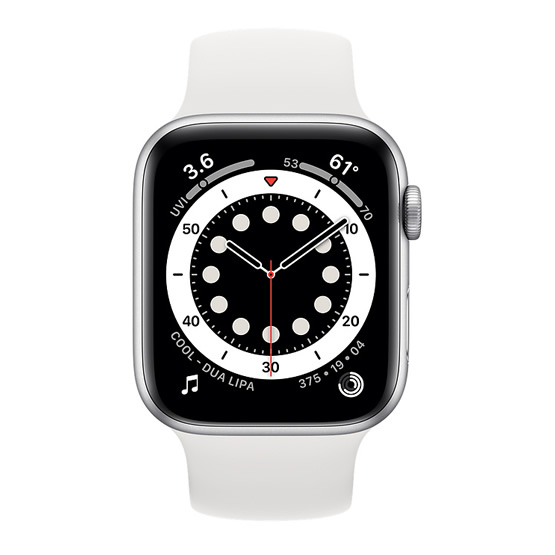 Apple Watch Series 6 GPS - 44mm - Silver/White Sport Band