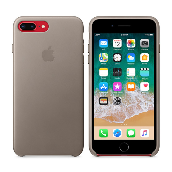 Apple Leather Case iPhone 8/7 Plus - Taupe