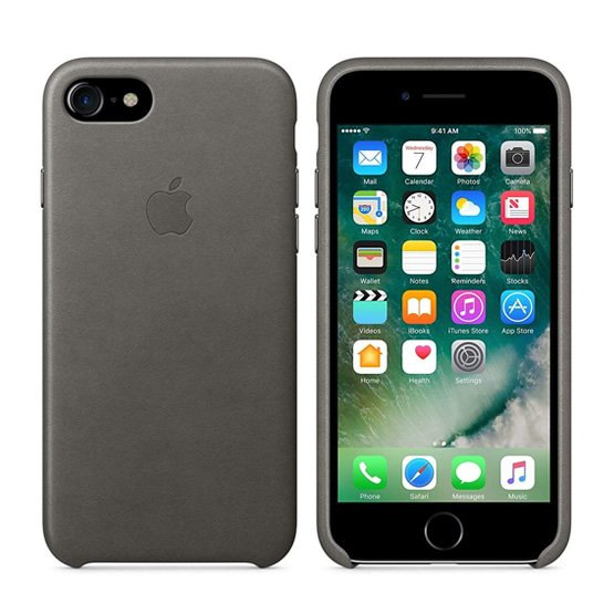 Apple Leather Case iPhone 8/7 - Storm Gray