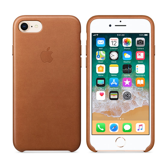 Apple Leather Case iPhone 8 - Saddle Brown