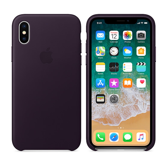 Apple Leather Case iPhone X - Dark Purple